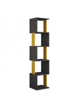 Βιβλιοθήκη - στήλη Piri pakoworld χρώμα ανθρακί - μουσταρδί 35x30x161εκ 119-001000