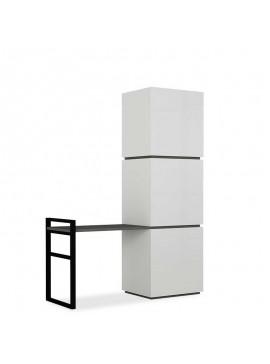 Έπιπλο εισόδου-Πορτ Μαντώ Mello pakoworld χρώμα λευκό - ανθρακί 109x39x149εκ 119-001007
