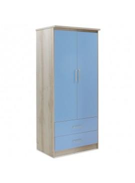 Ντουλάπα ρούχων παιδική δίφυλλη Looney pakoworld χρώμα castillo-μπλε 81x57x183εκ 123-000072
