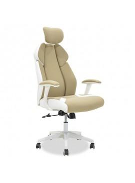 Καρέκλα γραφείου διευθυντή MOMENTUM Bucket pakoworld μπεζ ύφασμα Mesh-πλάτη pu λευκό 126-000008