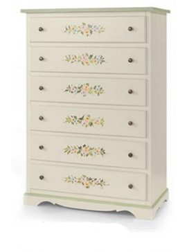 Ιταλικό έπιπλο   Συρταριέρα Art. 491  EPL05087   97x49x140 εκ.Χρώμα Λευκό