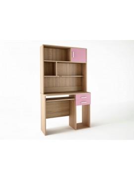 Παιδικό γραφείο με εταζέρα σε χρώμα δρυς-ροζ SB 8-14-ROZ