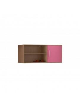 Βιβλιοθήκη τοίχου κρεμαστή σε χρώμα δρυς-ροζ 100x30x43 SB 43-ΡΟΖ