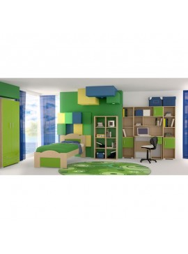 """SARRIS  Παιδικό δωμάτιο """"ΚΥΜΑ"""" σετ 7 τμχ σε χρώμα δρυς-λαχανί SET KYMA-LAXANI"""