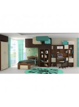 """SARRIS  Παιδικό δωμάτιο """"ΚΥΜΑ"""" σετ 7 τμχ σε χρώμα εκρού-καρυδί SET KYMA-EKROU"""