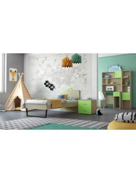 """SARRIS  Παιδικό δωμάτιο """"ΑΝΑΤΟΛΗ"""" σετ 5 τμχ σε χρώμα δρυς-λαχανί SET ANATOLI-LAXANI"""