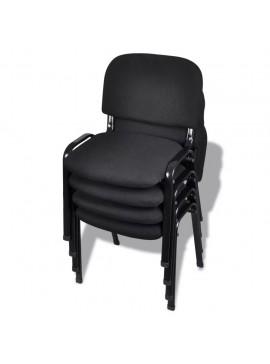 Καρέκλες Επισκέπτη Στοιβαζόμενες 4 τεμ. Μαύρες Υφασμάτινες  20138