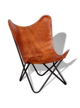 Καρέκλα Πεταλούδα Καφέ από Γνήσιο Δέρμα  243728