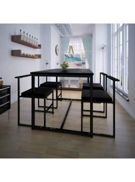 Σετ Τραπεζαρίας με Καρέκλες Πέντε Τεμαχίων Μαύρο  244269