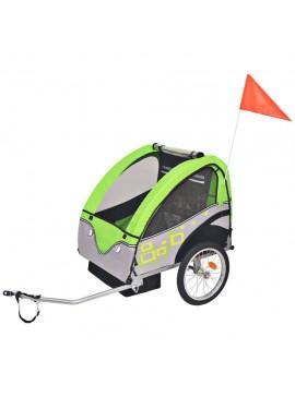 Τρέιλερ Ποδηλάτου Παιδιών Γκρι / Πράσινο 30 κ.  91374