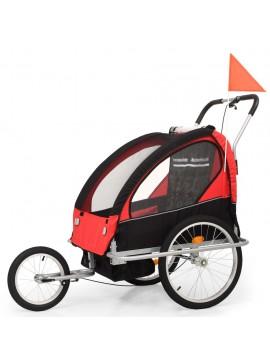 Τρέιλερ Ποδηλάτου Παιδιών & Καροτσάκι 2 σε 1 Μαύρο και Κόκκινο  91375