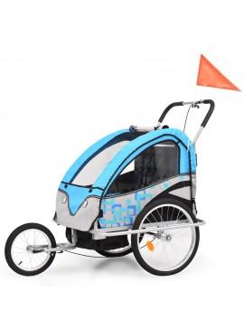 Τρέιλερ Ποδηλάτου Παιδιών & Καροτσάκι 2 σε 1 Μπλε και Γκρι  91377