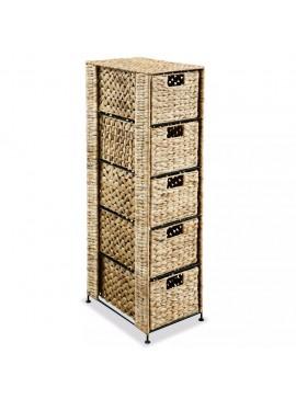 Συρταριέρα με 5 Καλάθια 25,5x37x100 εκ. από Υάκινθο του Νερού   245492