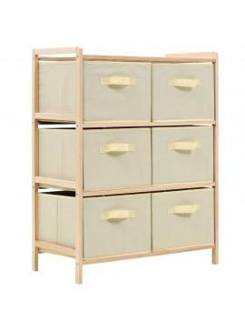 Συρταριέρα με 6 Καλάθια Μπεζ από Ξύλο Κέδρου / Ύφασμα  246439