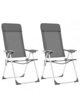 Καρέκλες Camping Πτυσσόμενες 2 τεμ. Γκρι από Αλουμίνιο  44304