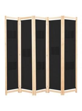Διαχωριστικό Δωματίου με 5 Πάνελ Μαύρο 200x170x4 εκ. Υφασμάτινο  248185