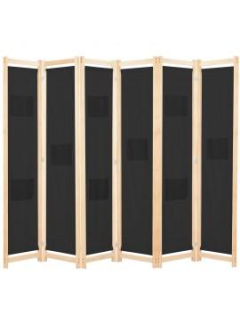 Διαχωριστικό Δωματίου με 6 Πάνελ Μαύρο 240x170x4 εκ. Υφασμάτινο  248186
