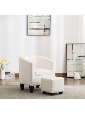 Πολυθρόνα Μπάρελ Λευκή από Συνθετικό Δέρμα με Υποπόδιο  248060