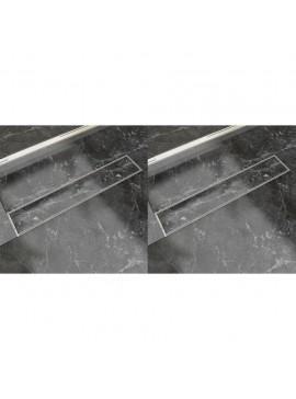 Σιφόνι Ντουζιέρας Γραμμικό 2 τεμ. 630x140 χιλ. Ανοξείδ. Ατσάλι  275948