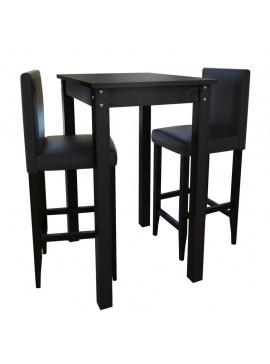 Τραπέζι Μπαρ με 2 Καρέκλες Μπαρ Μαύρο  160726