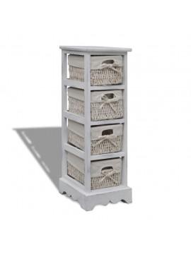 Συρταριέρα με 4 Πλεκτά Καλάθια Λευκή Ξύλινη   240797