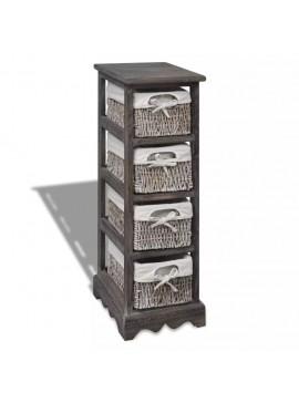 Συρταριέρα με 4 Πλεκτά Καλάθια Καφέ Ξύλινη   240800