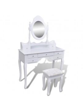 Μπουντουάρ με Καθρέφτη και 7 Συρτάρια Λευκό με Σκαμπό    241002