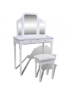 Μπουντουάρ με Τριπλό Καθρέφτη και 2 Συρτάρια Λευκό με Σκαμπό    241003
