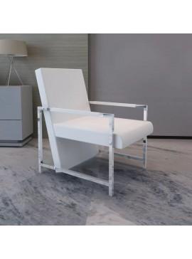 Πολυθρόνα Λευκή από Συνθετικό Δέρμα με Πόδια Χρωμίου  241007