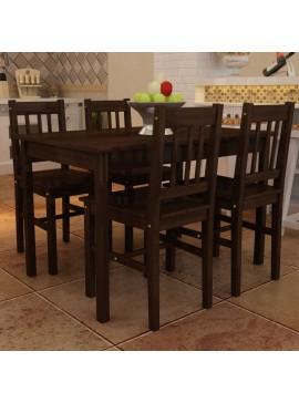 Ξύλινη Τραπεζαρία με 4 Καρέκλες Καφέ  241221