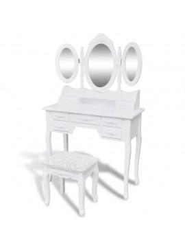 Μπουντουάρ με 3 Καθρέφτες και Σκαμπό Λευκό   241483