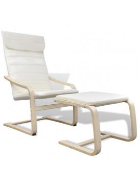 Πολυθρόνα Κρεμ Υφασμάτινη με Σκελετό από Λυγισμένο Ξύλο  241436