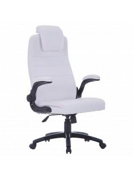Περιστρεφόμενη καρέκλα Ρυθμιζόμενη Λευκό συνθετικό δέρμα  20090