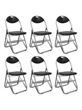 Καρέκλες Τραπεζαρίας Πτυσσόμενες 6 τεμ. Μαύρες Δερματίνη/Ατσάλι  241494