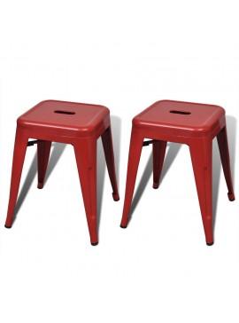 Σκαμπό Στοιβαζόμενα 2 τεμ. Κόκκινα Μεταλλικά  241538