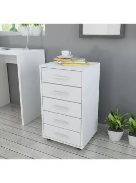 Συρταριέρα Γραφείου Τροχήλατη με 5 Συρτάρια Λευκή  243064