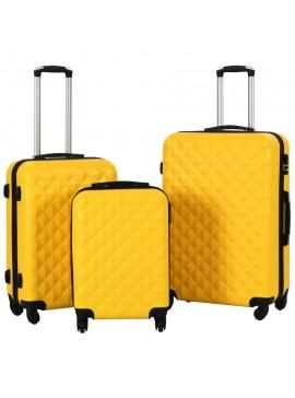 Σετ Βαλιτσών Τρόλεϊ 3 τεμ. με Σκληρό Περίβλημα Κίτρινο από ABS  91890