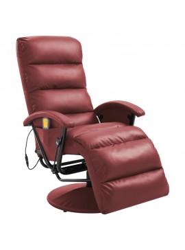 Πολυθρόνα Μασάζ Ανακλινόμενη Μπορντό από Συνθετικό Δέρμα  248485