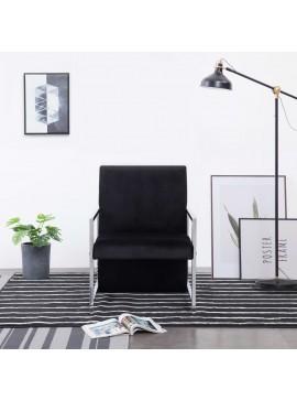 Πολυθρόνα Μαύρη Βελούδινη με Πόδια Χρωμίου  282157