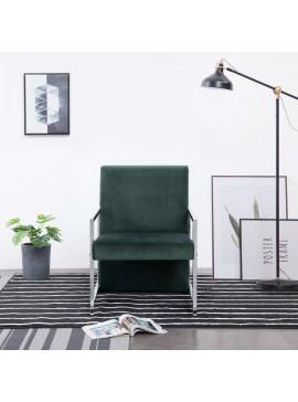 Πολυθρόνα Σκούρο Πράσινο Βελούδινη με Πόδια Χρωμίου   282158