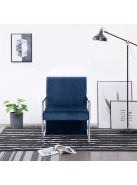 Πολυθρόνα Μπλε Βελούδινη με Πόδια Χρωμίου 282160