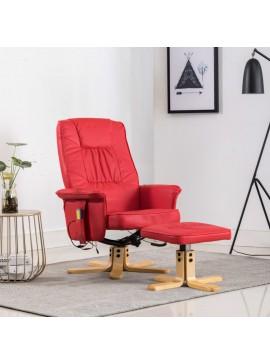 Πολυθρόνα Μασάζ Ανακλινόμενη Κόκκινη Συνθετικό Δέρμα & Υποπόδιο  248630