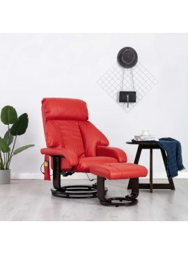 Πολυθρόνα Μασάζ Ανακλινόμενη Κόκκινη από Συνθετικό Δέρμα  248684