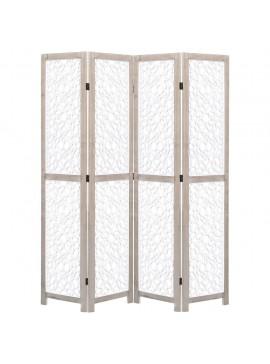 Διαχωριστικό Δωματίου με 4 Πάνελ Λευκό 140 x 165 εκ. Μασίφ Ξύλο  284196
