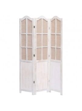 Διαχωριστικό Δωματίου με 3 Πάνελ Λευκό 105 x 165 εκ. Υφασμάτινο  284219