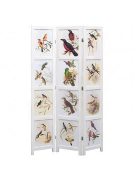 Διαχωριστικό Δωματίου με 3 Πάνελ Λευκό 105 x 165 εκ. Πουλιά  284223
