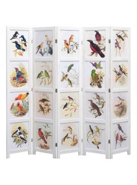 Διαχωριστικό Δωματίου με 5 Πάνελ Λευκό 175 x 165 εκ. Πουλιά  284225
