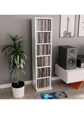 Έπιπλο για CD Γυαλιστερό Λευκό 21 x 16 x 88 εκ. από Μοριοσανίδα  800357
