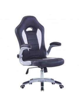 Καρέκλα Gaming Μαύρη από Συνθετικό Δέρμα  20190