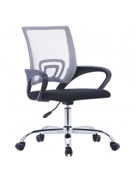 Καρέκλα Γραφείου με Διχτυωτή Πλάτη Γκρι Υφασμάτινη  20184